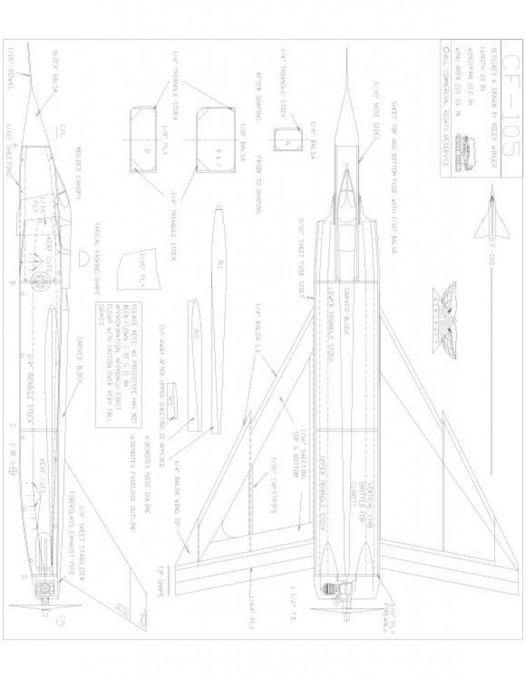 Avro CF 105 Model 1 model airplane plan