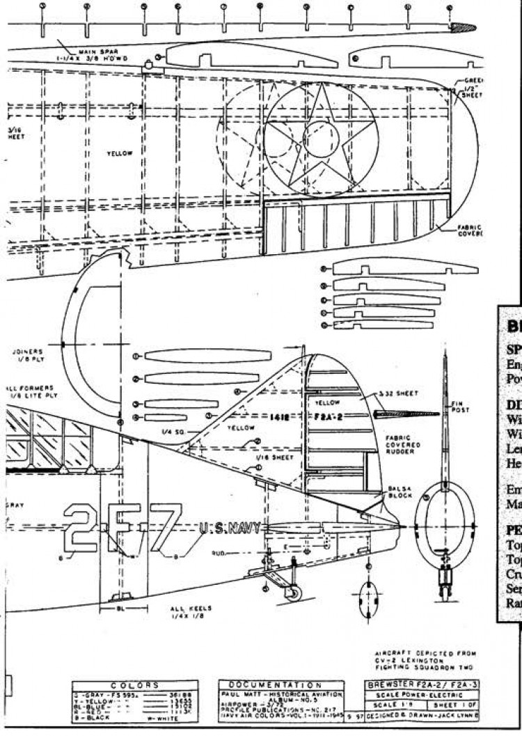 Brewster F2A2 Buffalo b model airplane plan