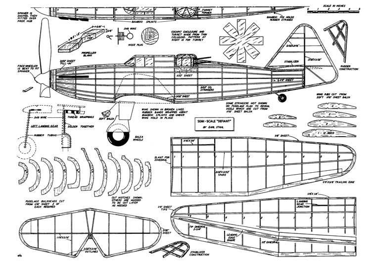defiant p1 model airplane plan