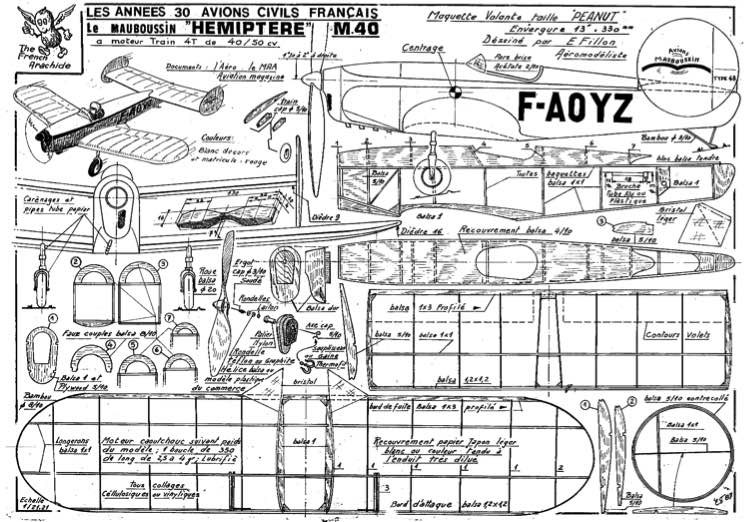 fillon HEMIPTERE M 40 model airplane plan