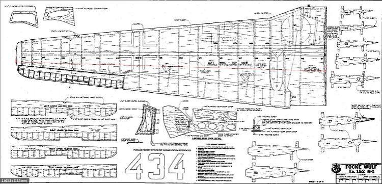 focke wulf ta152h 5 Wing model airplane plan