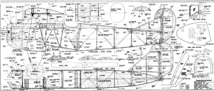 Fokker DVII B model airplane plan