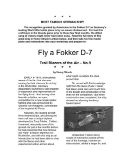 fokkerd7 model airplane plan