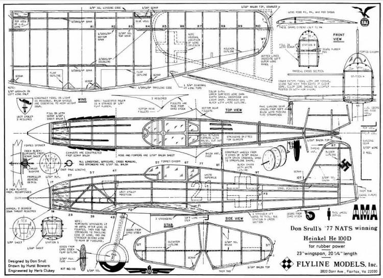 Heinkel HE 100d model airplane plan