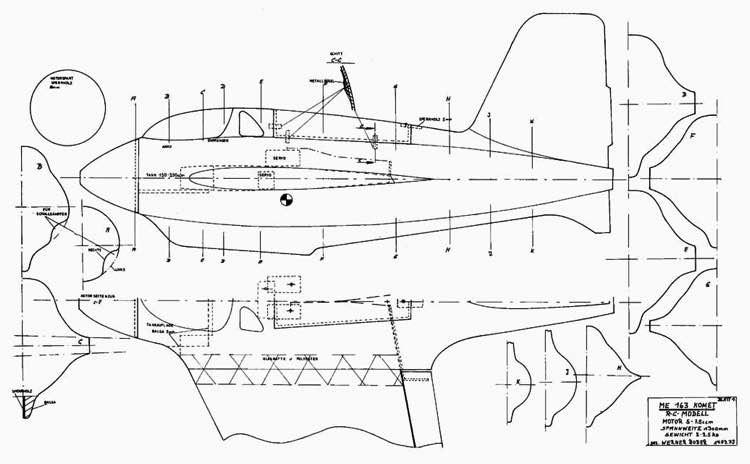 Me 163 Komet p2 model airplane plan