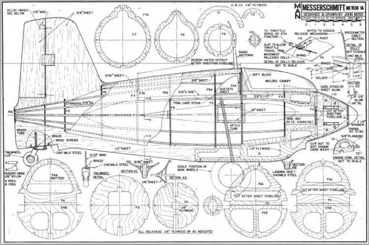 Messerchmitt Me163B model airplane plan