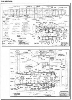 P38 Lightning model airplane plan