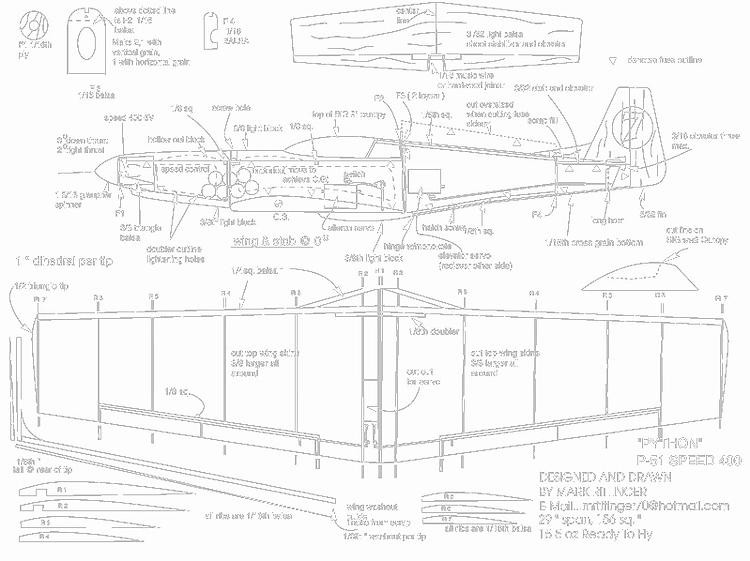 P51D Python model airplane plan