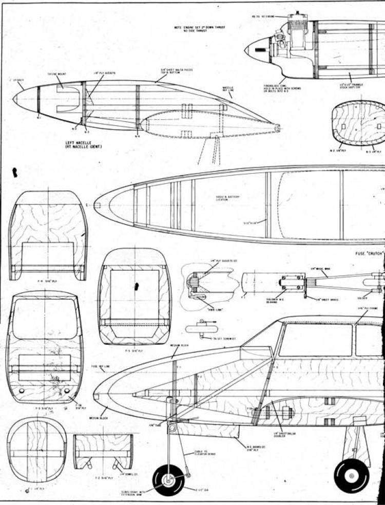 piper comanche twin 1A model airplane plan