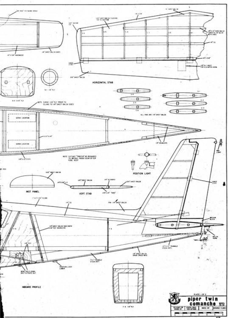 piper comanche twin 1B model airplane plan
