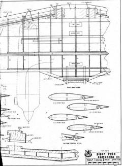 piper comanche twin 2B model airplane plan