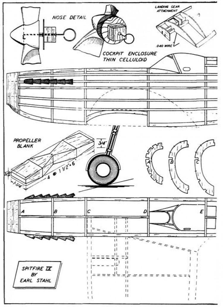 spit p2 model airplane plan
