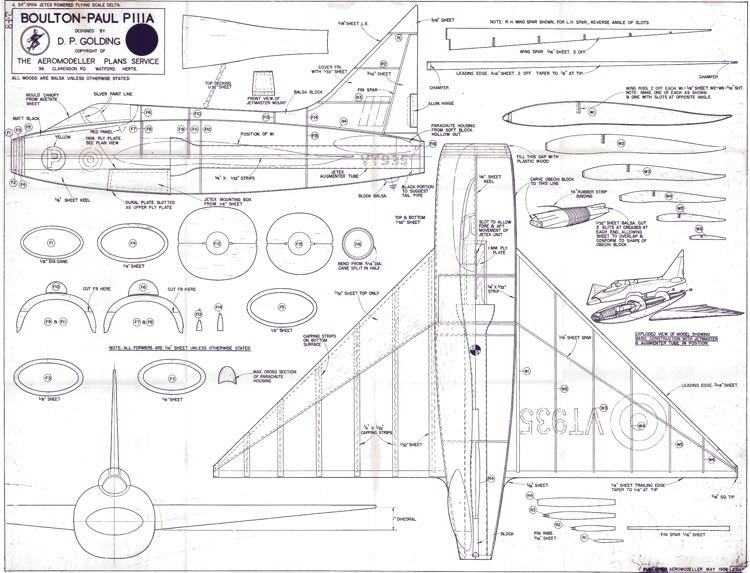 Boulton-Paul PIIIA model airplane plan