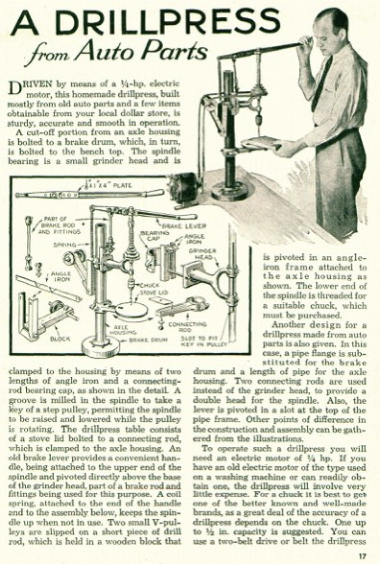 drill-press-auto model airplane plan