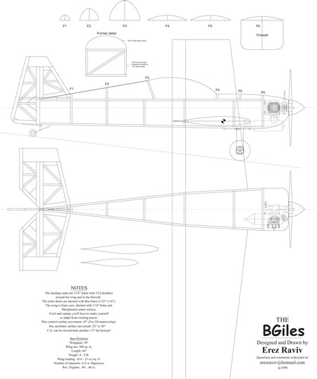 B Giles model airplane plan