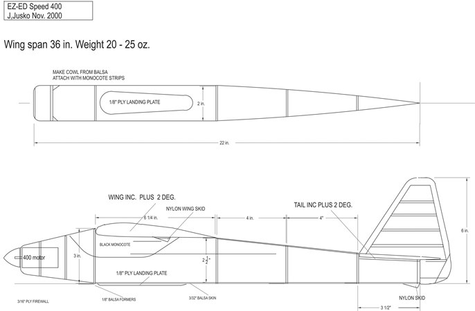 Ez Ed 400 model airplane plan