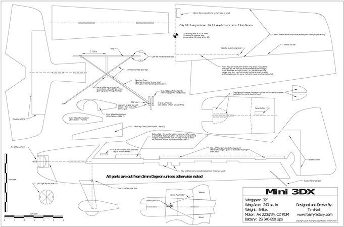 Mini 3DX model airplane plan