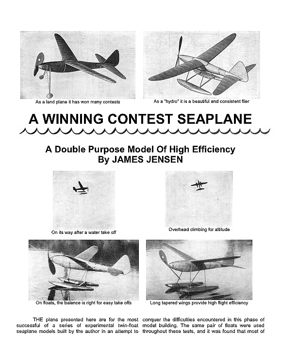Seaplane model airplane plan