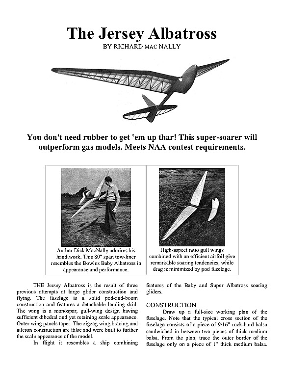 The Jersey AlbatrossAeroFred - Free Model Airplane Plans