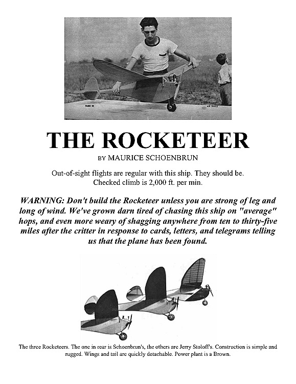 rocketeer model airplane plan