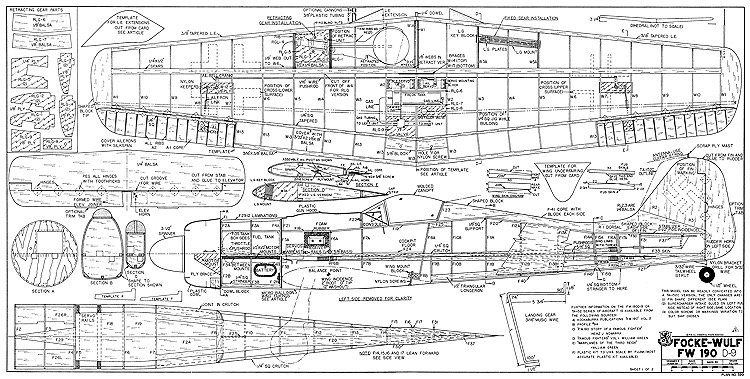 Focke-Wulf Fw-190 D-9 model airplane plan