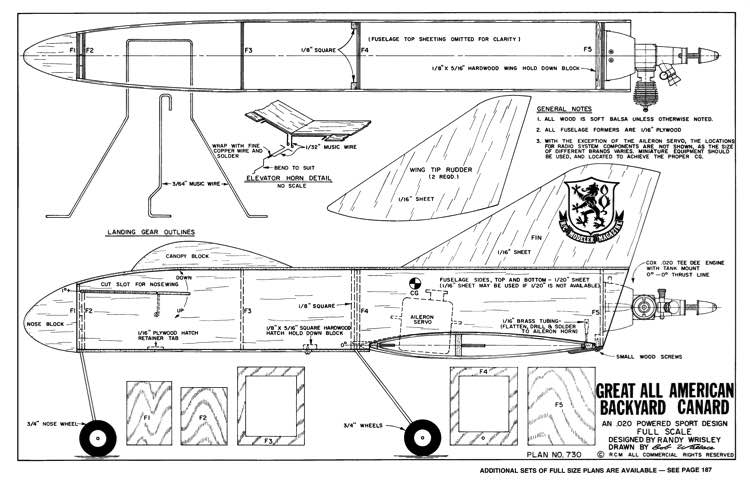 Great All American Backyard Canard model airplane plan