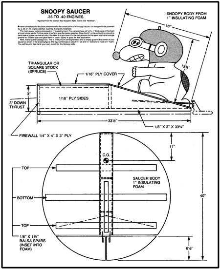 Snoopy Saucer model airplane plan