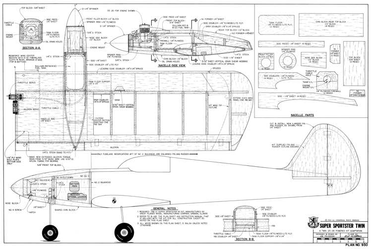 Super Sportster TwinAeroFred - Free Model Airplane Plans