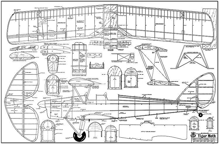 de Havilland DH.82 Tiger Moth model airplane plan