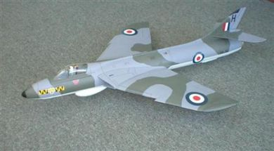 "Hawker Hunter 46"" model airplane plan"