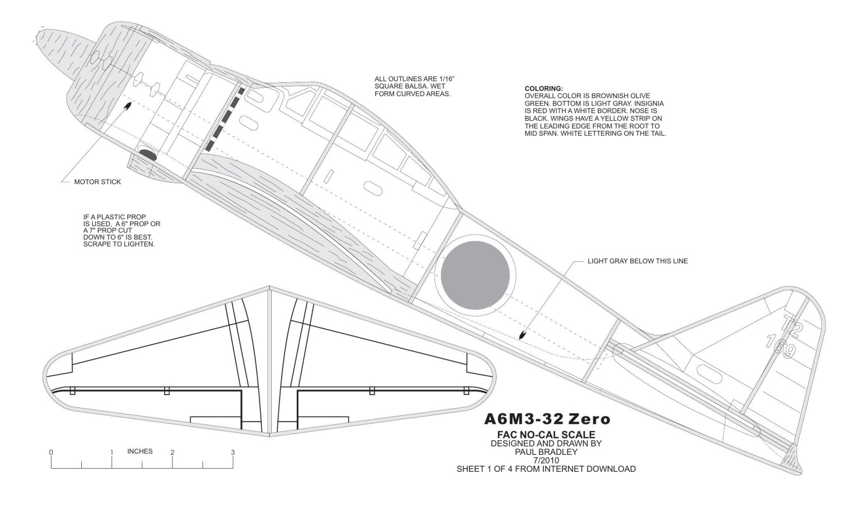 A6M3-32 Zero model airplane plan