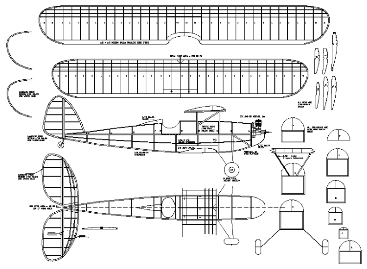 SM Bipe model airplane plan