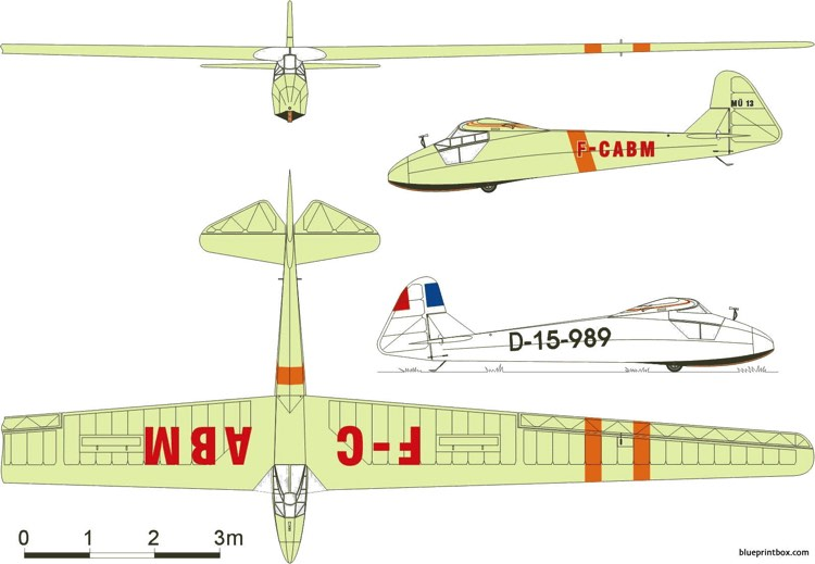 akaflieg munchen mu 13 model airplane plan