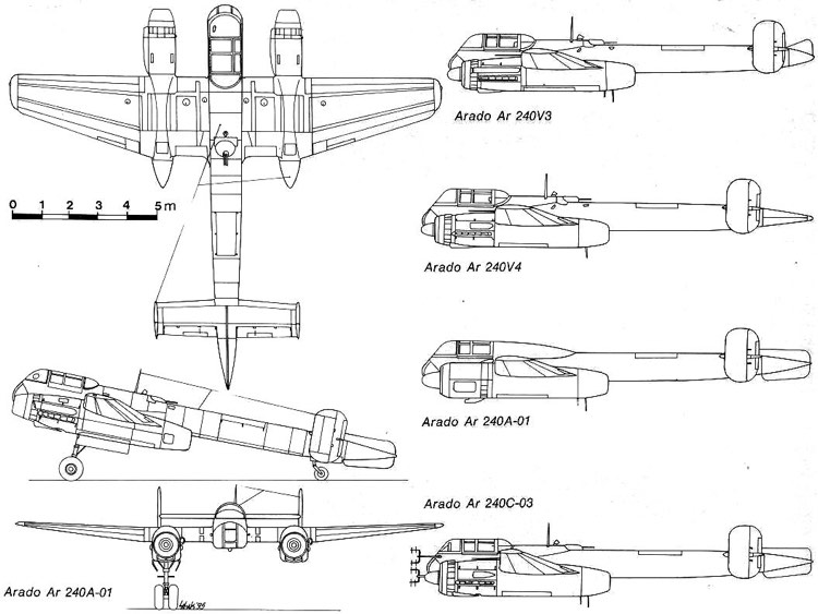 arado240 3v model airplane plan