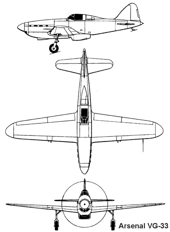 arsenal vg33 3v model airplane plan