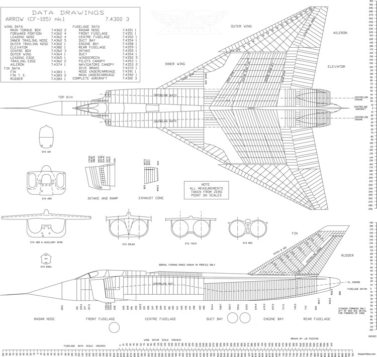avro canada cf 105 arrow 2 model airplane plan