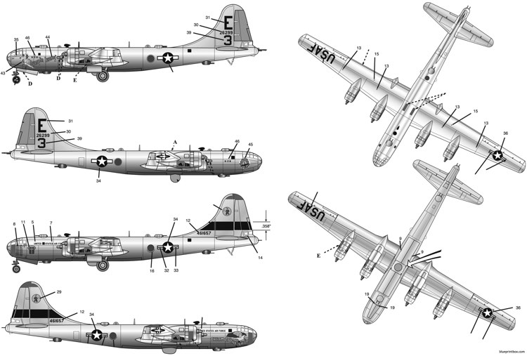 b 29 superfortress model airplane plan