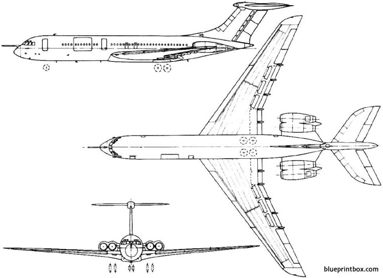 bac vickers vc 10  super vc 10 1962 england model airplane plan
