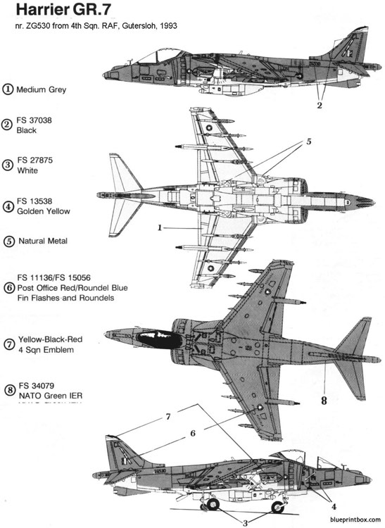 bae,mcdonnell douglass harrier gr7 model airplane plan