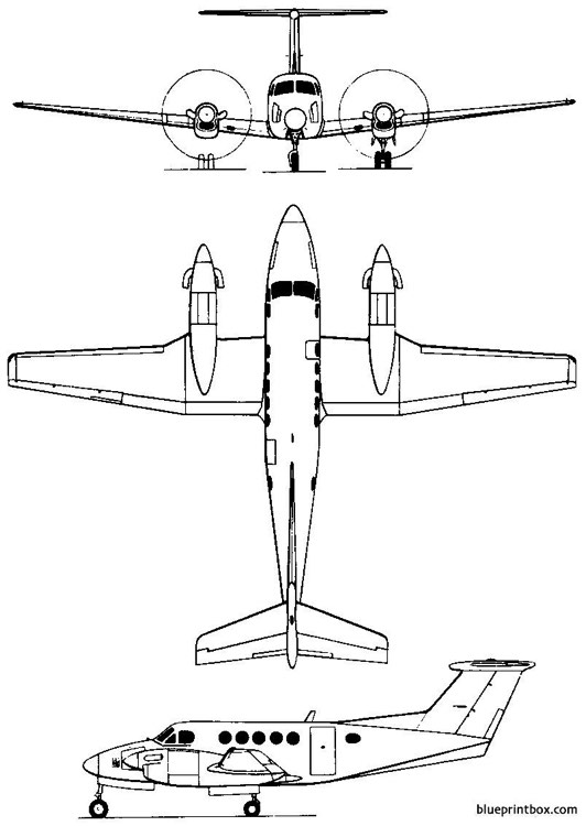 beech model 200 super king air  c 12 1972 usa model airplane plan