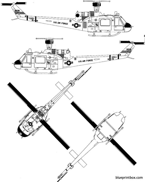 bell 204 uh 1f heui model airplane plan