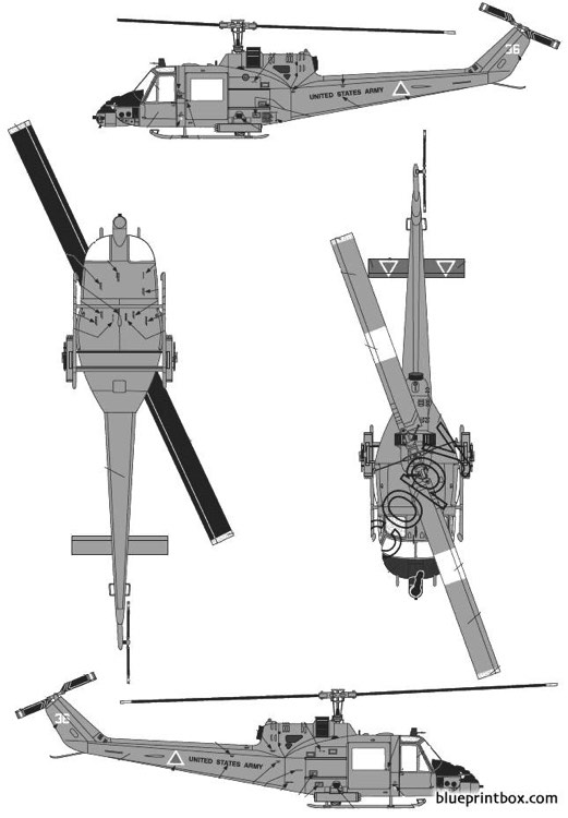 bell uh 1c huey bell 204 model airplane plan