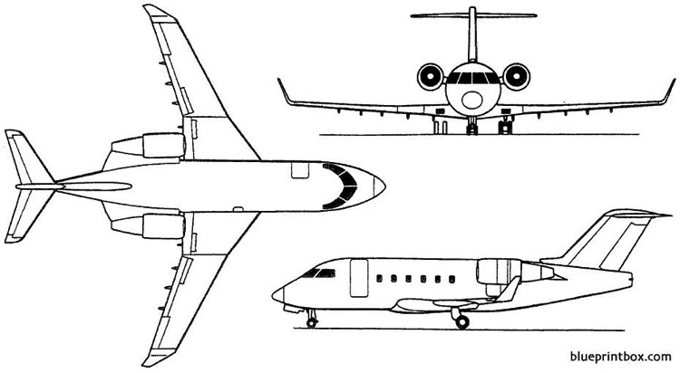 bombardier challenger 600  601  604 1978 canada model airplane plan