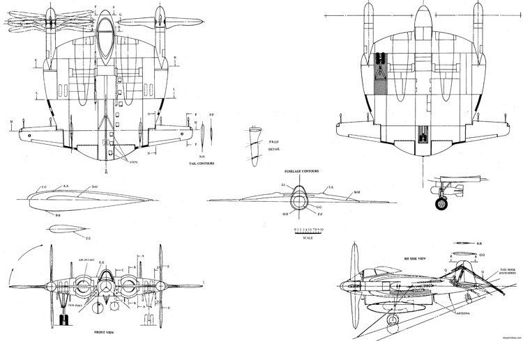 chance vought f5u model airplane plan