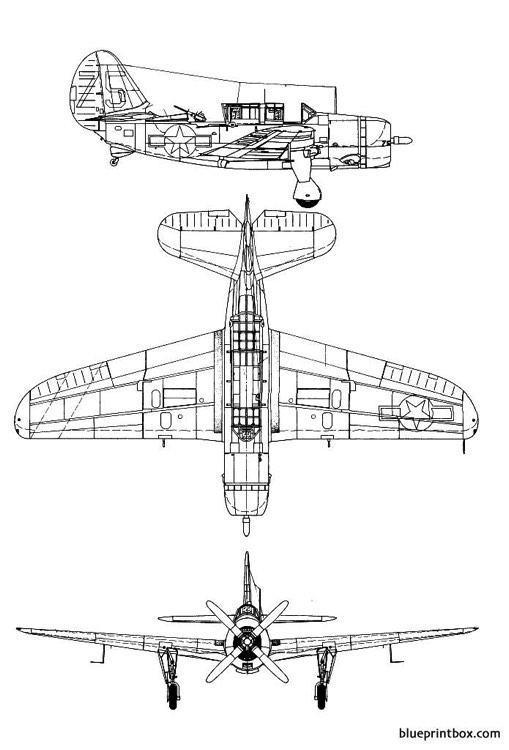 curtis sb 2c3 helldiver model airplane plan