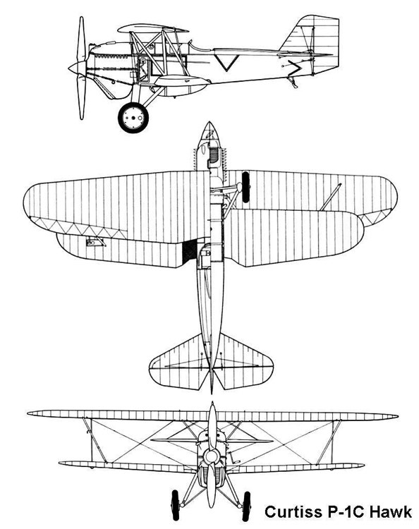 curtiss p1c 3v model airplane plan