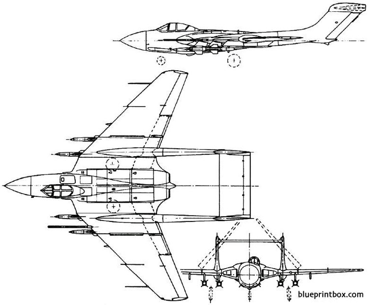 de havilland dh110 sea vixen 1951 england model airplane plan