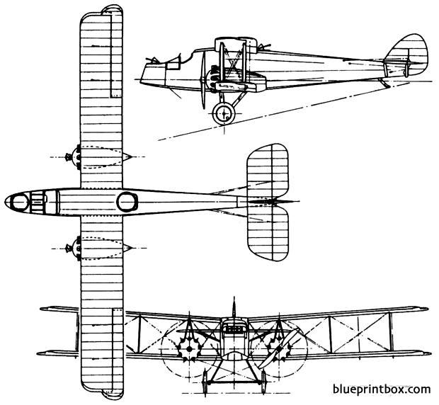de havilland dh11 oxford 1920 england model airplane plan