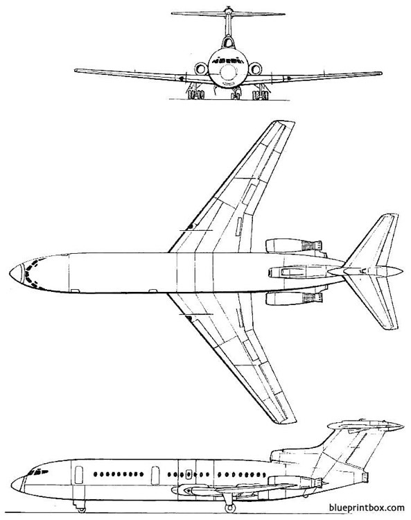 de havilland dh 121 trident model airplane plan