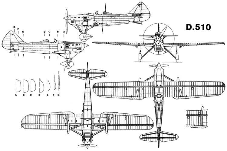 dewoitine510 3v model airplane plan